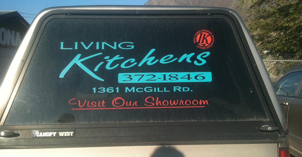 living kitchens graphics on car window